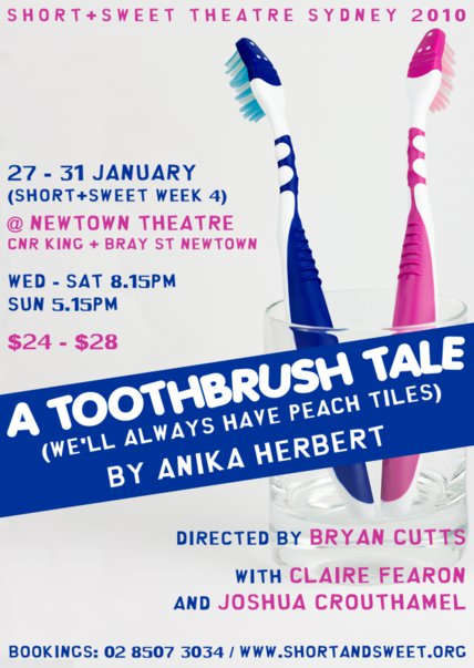 the publicity flyer for Anika Herbert's 'A Toothbrush Tale (We'll Always Have Peach Tiles)'