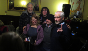 Peter McAllum (rear left) and Robin Queree (front right) with Gon Type fans after the show